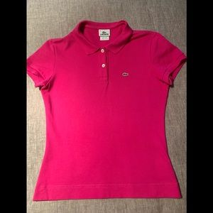 Lacoste fitted hot pink polo shirt